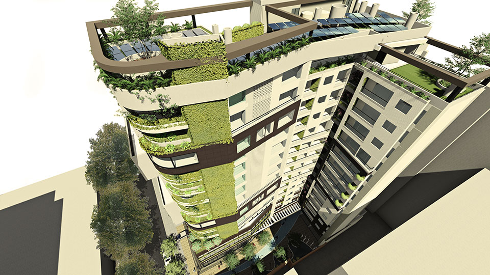 AIANA VERDE, BIM, Render from Rooftop and top facade, Tall Living wall, vegetation in the facade