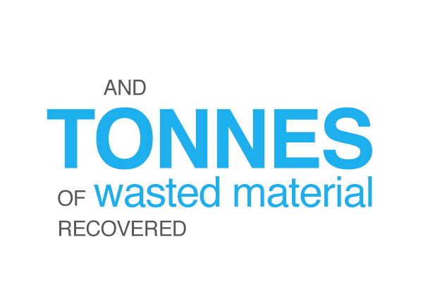 tonnes of wasted material recovered